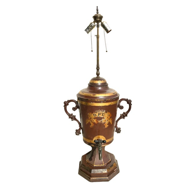 Early 19th Century Unique Early 19th C. English Tole Lamp For Sale