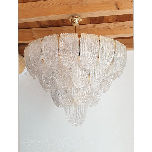 Art Deco Large Mid-Century Modern Murano Glass Chandeliers by Mazzega For Sale - Image 3 of 12