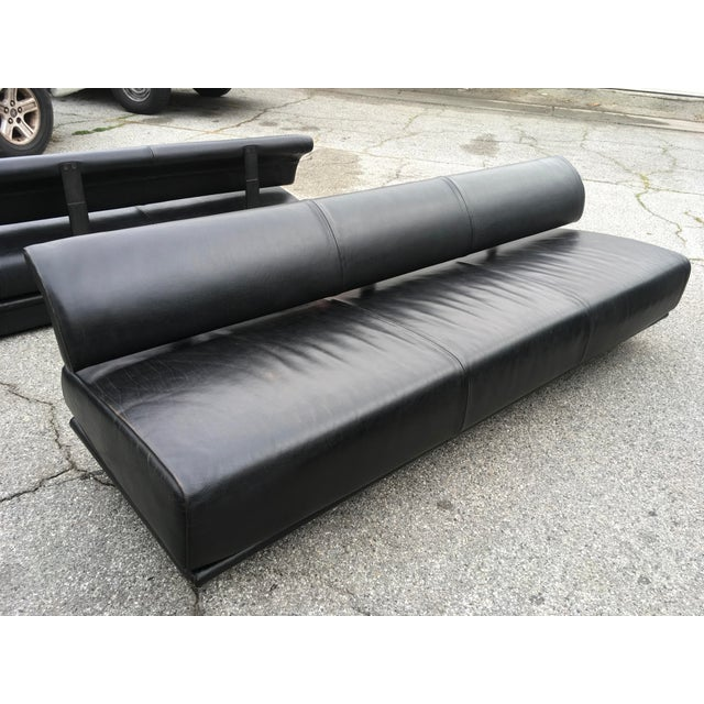 Metal Italian Black Leather Sofas With Floating Back - a Pair For Sale - Image 7 of 13