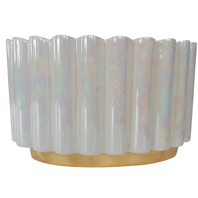 White and Gold Luster Mid-Century Ceramic Planter - Image 1 of 4