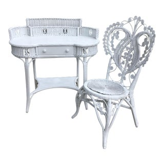 Haywood and Wakefield Wicker Vanity With Chair - 2 Pieces For Sale