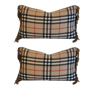Traditional Burberry Fabric Wool Pillows - a P For Sale