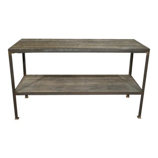 Mid Century Wood & Iron Work Table With Lower Shelf For Sale