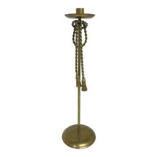 1960s Vintage Brass Rope & Tassel Taper Candlestick Holder For Sale