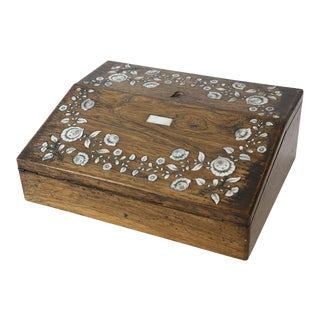 Antique Writing Box with Mother of Pearl Inlay For Sale