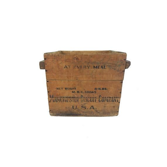 Early American Antique Manchester Biscuit Company Wood Crate Box For Sale - Image 3 of 5