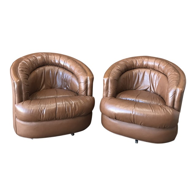 1970s Brown Leather Swivel Barrel Chairs - a Pair For Sale