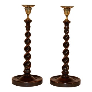 Pair of 19th C English Mahogany Candlesticks For Sale