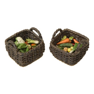 Mid 20th Century Miniature Ceramic Wicker Baskets With Vegetables - a Pair For Sale