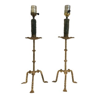 Gilt Candle Stick Lamps - a Pair For Sale