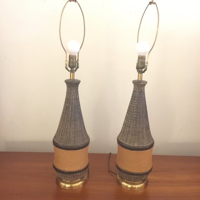 Bitossi Italy Ceramic Rope Lamp, 1960s - A Pair For Sale - Image 5 of 11