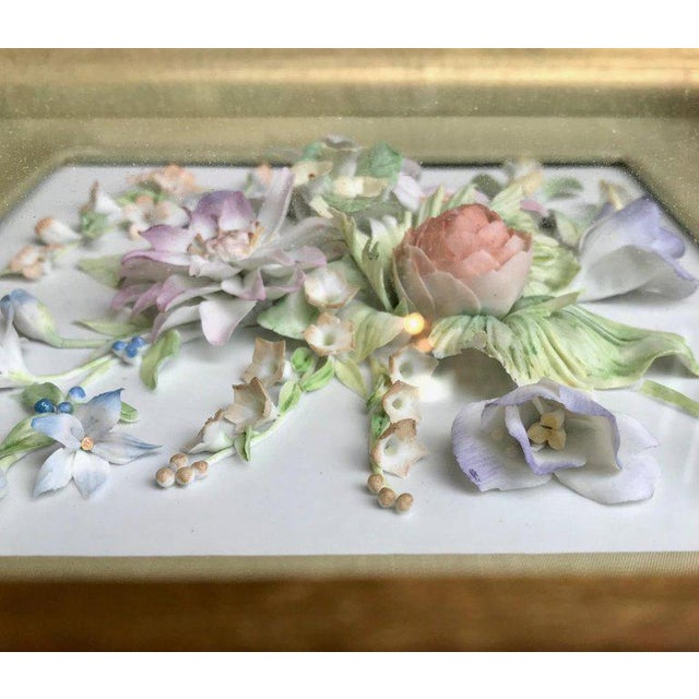 Traditional 19th Century Bisque German Porcelain Floral Plaques in Shadow Boxes - a Pair For Sale - Image 3 of 12