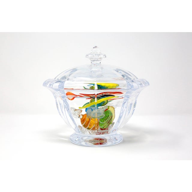 Octagonal Lucite Candy Bowl With Murano Glass Candy For Sale - Image 11 of 13