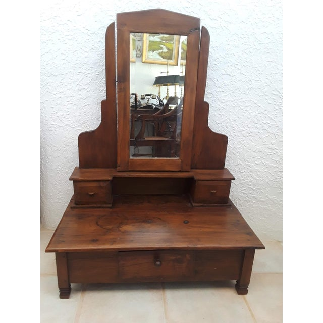 Small Teak Wood Dressing Mirror For Sale - Image 9 of 9