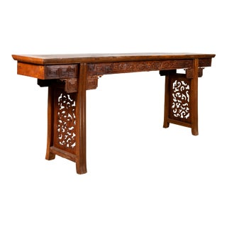 Chinese Antique Tall Altar Console Table with Meander Motifs and Carved Sides For Sale