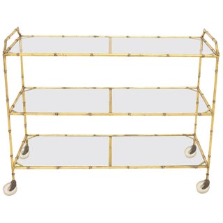Mid-Century Modern Three-Tier Long Rectangle Shape Serving Cart on Wheels For Sale
