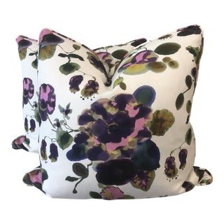 "Painterly Floral 22"" Pillows-A Pair For Sale"