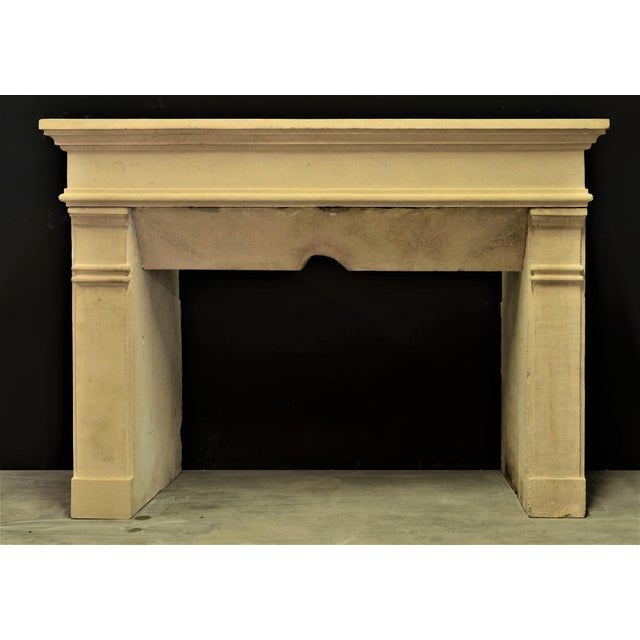 Solid antique French limestone fireplace mantel. Perfect usable measurements.