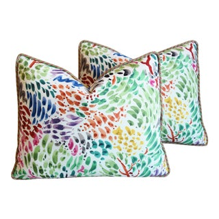 "Clarence House Fabric and Scalamandre Mohair Feather/Down Pillows 23"" X 19"" - Pair For Sale"