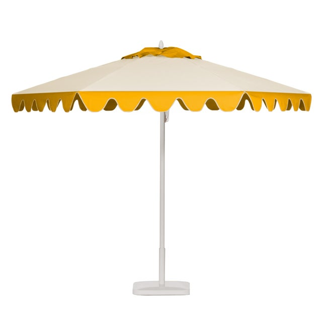 Lemon Frappe 9' Patio Umbrella, Canary Yellow & Off-white For Sale - Image 4 of 4