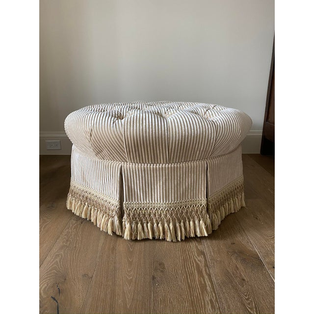 Custom Tufted Upholstered Ottoman with Fringe For Sale In Houston - Image 6 of 6