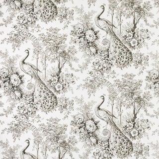 Sample, Suzanne Tucker Home Peacock Toile Print Fabric in Sepia For Sale