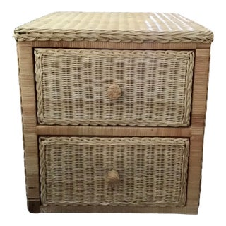 Boho Chic Natural Wicker Small Side Cabinet With Drawers For Sale