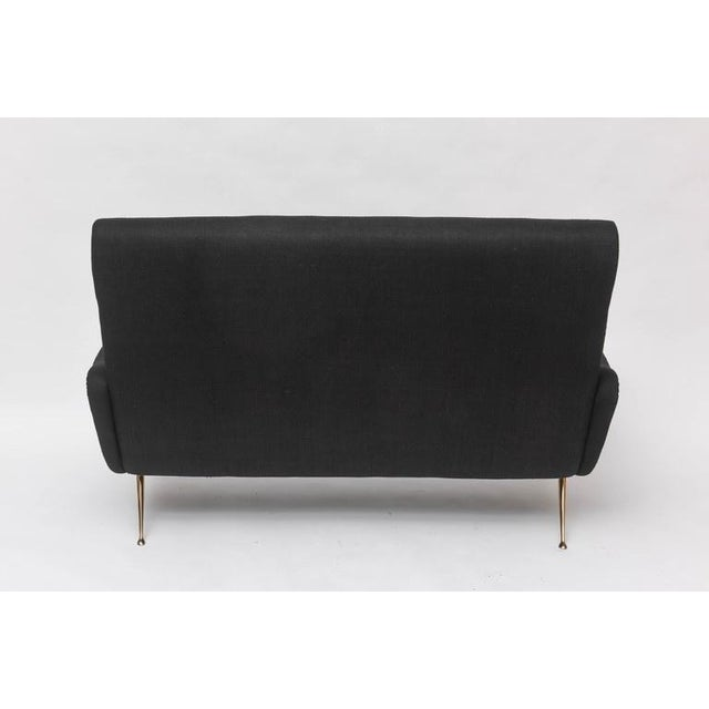 Our own production 50's Italian-inspired settee. Legs are solid cast bronze, available in brushed or polished finish (as...