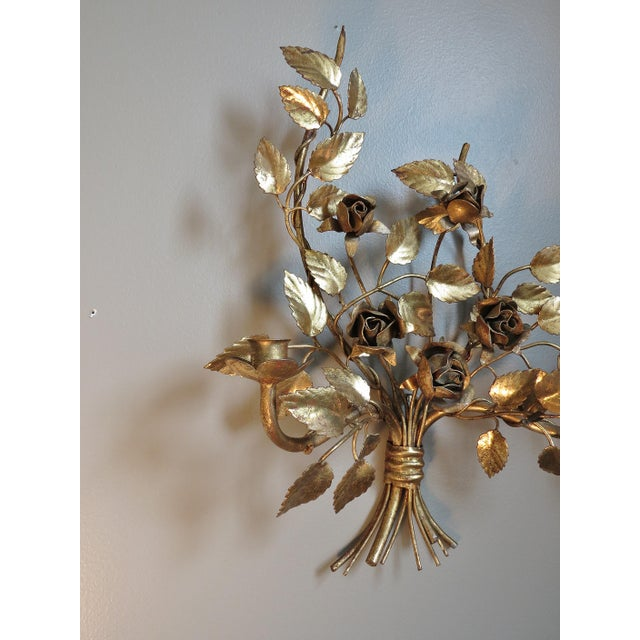 Vintage Italian Gilded Tole Wall Sconces - a Pair - Image 4 of 8