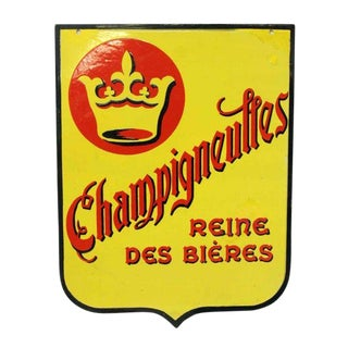 Vintage Mid-Century Two Sided Champigneulles Sign For Sale