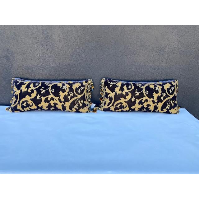 Navy Blue Luigi Bevilacqua Silk Velvet Pillows - a Pair For Sale - Image 8 of 8