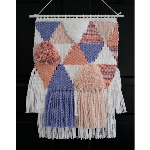 Handwoven Pink & Purple Wall Hanging - Image 4 of 6