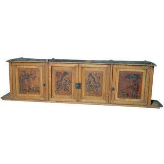 19th Century Chinese Four-Door Low Wooden Cabinet With Hand-Painted Scenes For Sale