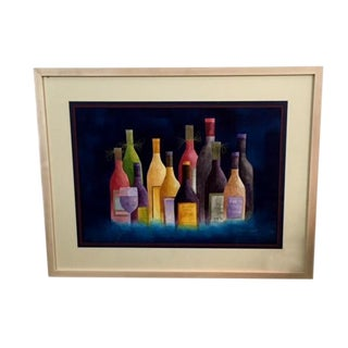 "Les Fosmire ""Wine in Bright Colors"" Original Watercolor Painting For Sale"