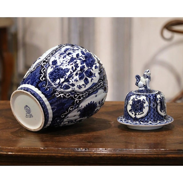 Blue Mid-Century Dutch Faience Blue and White Painted Delft Ginger Jar With Lid For Sale - Image 8 of 10