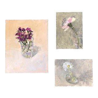 Gallery Wall Collection 3 Contemporary Impressionist Still Life Paintings Set of 3 For Sale