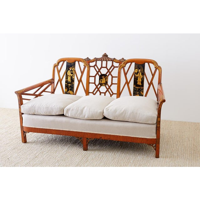 Chinoiserie English Chinoiserie Chippendale Style Pagoda Top Settee For Sale - Image 3 of 13