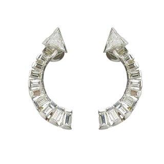 Vintage Platinum & Diamond Arrow Pierced Earrings For Sale