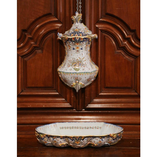 Early 20th Century Early 20th Century, French Hand-Painted Wall Faience Lavabo Fountain From Rouen For Sale - Image 5 of 9