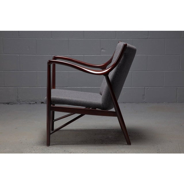 1940s Rosewood Finished Danish Modern Chair in Style of Finn Juhl / Niels Vodder Nv45 For Sale - Image 5 of 6