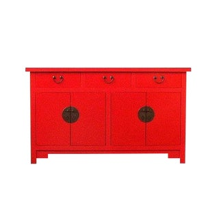 1980s Vintage Chinese Red Lacquered Wedding Sideboard/Liantigui For Sale