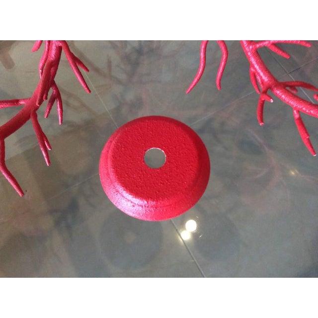 Metal Vintage 5-Light Hollywood Regency Coral Metal Chandelier For Sale - Image 7 of 11