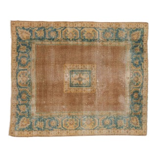 "Vintage Distressed Agra Square Rug - 4'11"" X 5'10"" For Sale"