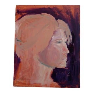 "1980s ""Stockholm Gaze"" Abstract Acrylic Portrait Painting For Sale"