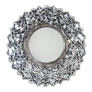 Transitional Round Hand Cut Glass Mirror For Sale