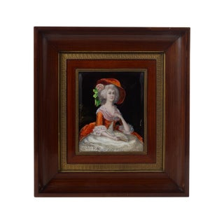 19th Century Victorian Woman Enamel on Copper Painting For Sale