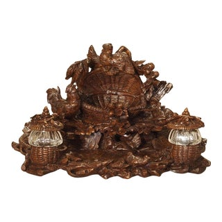 19th Century Black Forest Walnut Wood Inkwell For Sale
