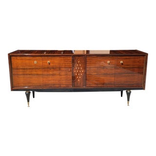 1940s French Art Deco Macassar Sideboard With Diamond Mother-Of-Pearl Center For Sale