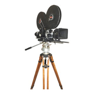 Mitchell circa Mid-20th Century 16mm Motion Picture Movie Studio Camera on Vintage Tripod For Sale