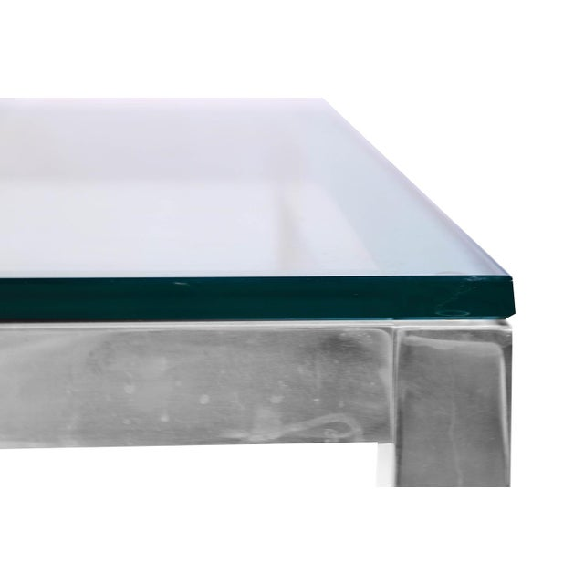 Silver Mid Century Modern Chrome & Glass Coffee Table Milo Baughman Style For Sale - Image 8 of 11